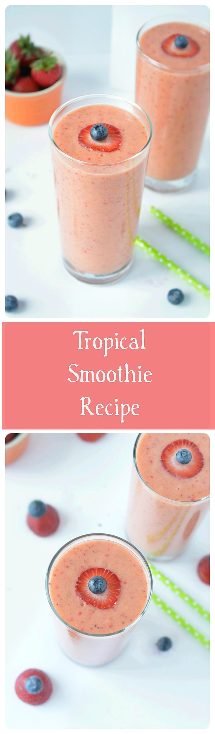 Fresh strawberries combined with frozen mangoes, pineapple chunks, juice and flavored yogurt creates a satisfying and filling fruit smoothie. A perfect thirst quencher!!
