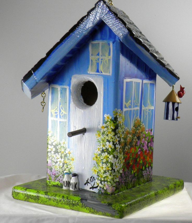 Twisted Birdhouse, Hand Painted Blue with it's own Bird House and Car in Garage. $59.00, via Etsy.