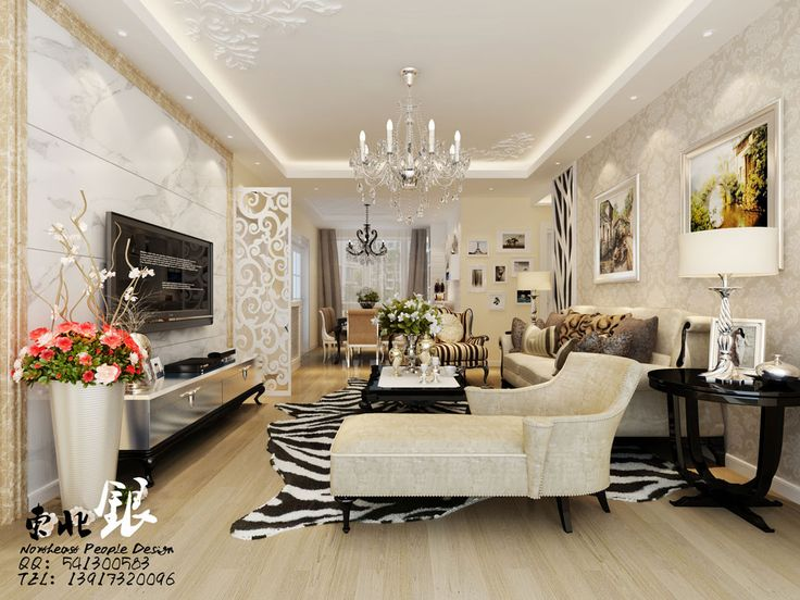 Exquisite living room damask cream wallpaper silver for Black and white damask chaise lounge