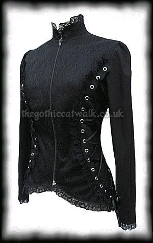 Gothic Victorian Steampunk High Collar Black Lace Jacket