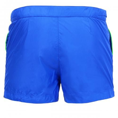 SHORT BOARDSHORTS WITH ADJUSTABLE WAIST STRAPS Yale lycra slip with logo embroidery on the front, elastic waist with adjustable hidden drawstring, internal mesh, Robinson Les Bains rubber label sewn inside. COMPOSITION: 80% POLYAMIDE, 20% ELASTANE. Lining: 92% POLYAMIDE, 8% ELASTANE. Our model wears size M, he is 189 cm tall and weighs 86 Kg.