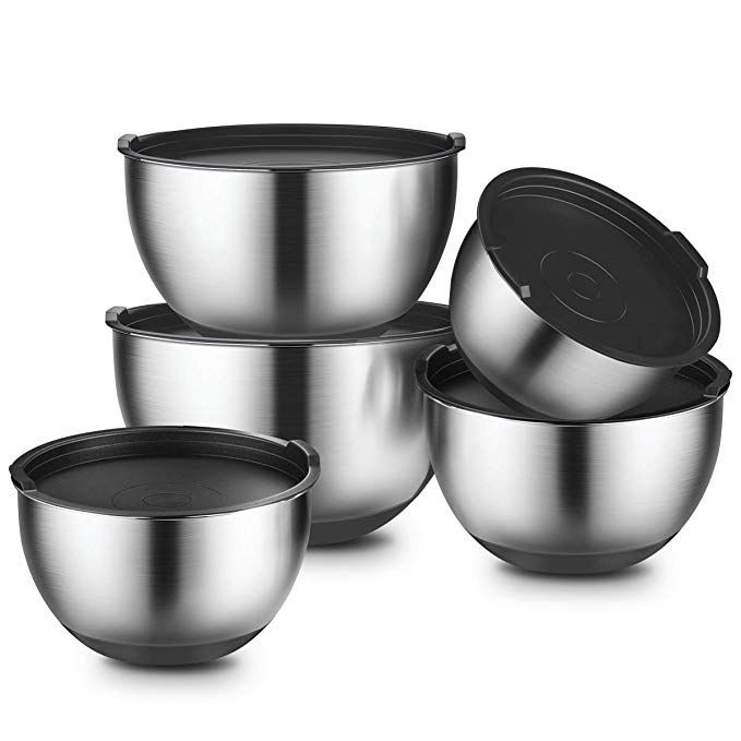 Mixing Bowls With Lids Set Of 5 Stainless Steel Mixing Bowls Set With Lids Non Slip Silicone Botto Stainless Steel Mixing Bowls Mixing Bowls Mixing Bowls Set