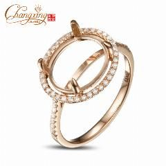 [ $28 OFF ] 9X11Mm Cabochon Cut 14K Gold Pave .26Ct Diamond Semi Mount Ring