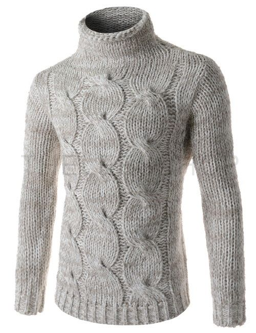 (FFT43-LIGHTBEIGE) Mens Slim Stretchy Turtle Neck Front Twist Knitted Long Sleeve Sweater