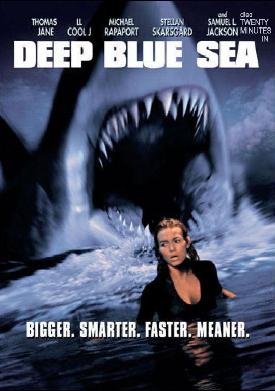 Deep Blue Sea (1999) / A remote former submarine refueling facility converted into a laboratory, a team of scientists are searching for a cure for Alzheimer's disease. Unknown to the other scientists, Dr. Susan McAlester (Saffron Burrows) violates a code of ethics and genetically engineers three Mako sharks to increase their brain capacity so their brain tissue can be harvested as a cure for Alzheimer's, but this causes the side effects to make the sharks smarter, more dangerous...and bigger