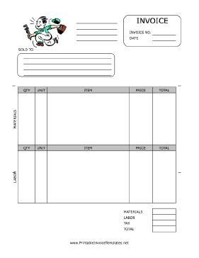 A printable invoice for use by a plumber or plumbing firm, featuring a retro cartoon graphic of a plumber rushing to work with his wrench. It has spaces to note quantity, unit, item, price, and more, separated by materials and labor. It is available in PDF, DOC, or XLS (spreadsheet) format. Free to download and print
