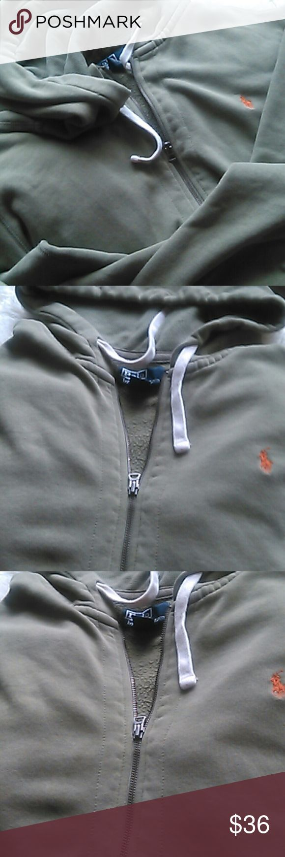 Polo Hoodie Sweat, Size XL Front pockets, zip up, pea green with orange insignia, sleeve ends are droopy, see last pic Polo by Ralph Lauren Jackets & Coats Lightweight & Shirt Jackets
