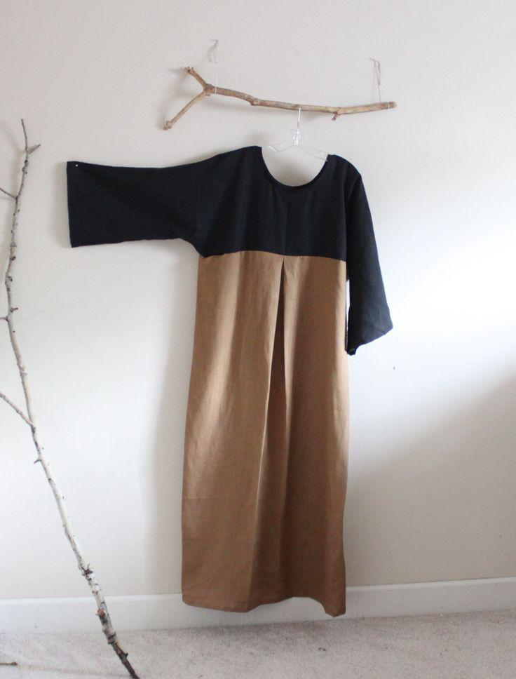 ginger. black. linen kimono dolly hanbok inspired dress