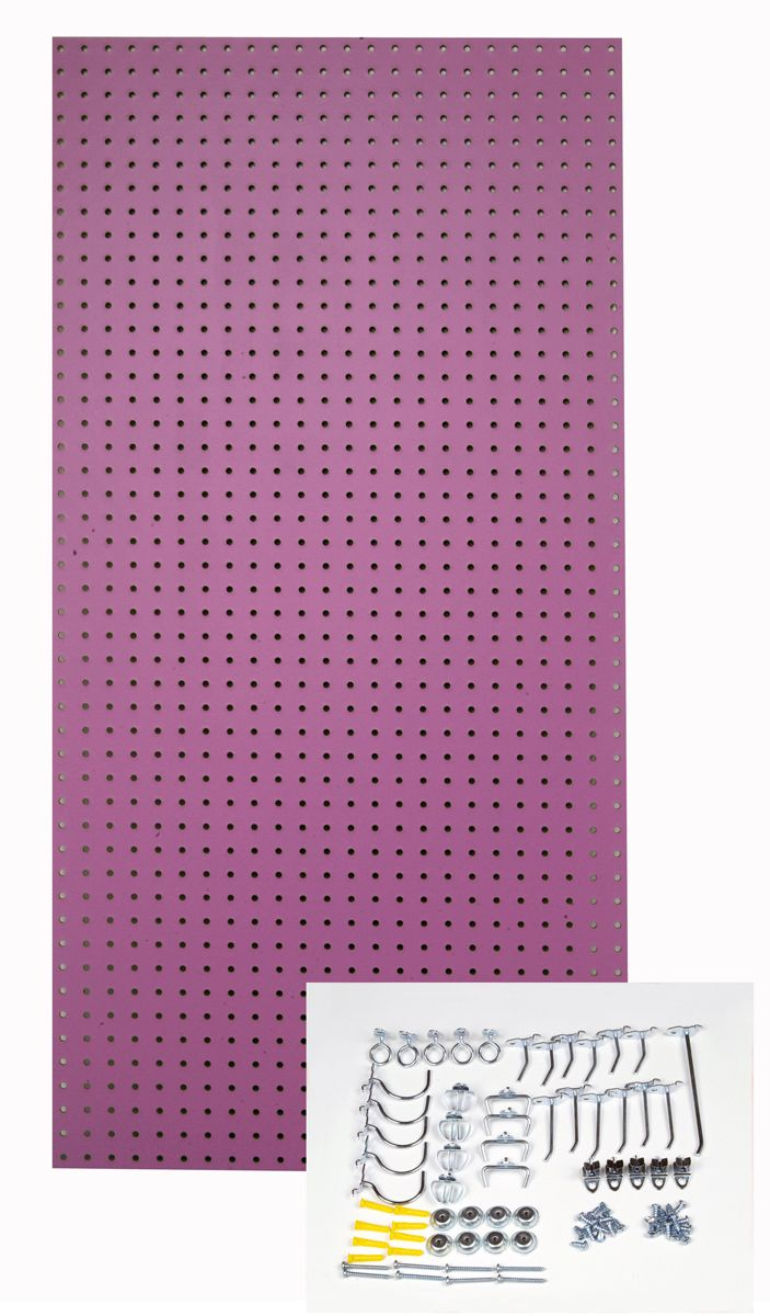 24 In. W x 48 In. H x 1/4 In. D Custom Painted Wild Orchid Heavy Duty Tempered Round Hole Pegboards with 36 pc. Locking Hook Assortment