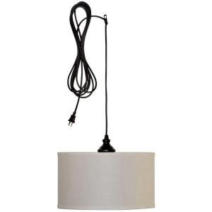 Hampton Bay Carroll 1-Light Oil-Rubbed Bronze Swag Drum Pendant ES4763OB4-D at The Home Depot - Mobile