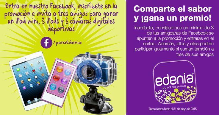 Participa conmigo en el sorteo de pera Edenia - DOP Pera de Lleida de 1 iPad mini, 3 iPods y 3 cámaras digitales deportivas.