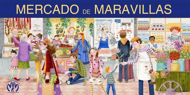 con el Mercado de Maravillas de Madrid vamos a repasar el vocabulario del mercado ¿Qué diferentes puestos aparecen en la imagen? (¿cómo se llama la tienda donde venden pescado? ¿y flores? ¿y las demás?), ¿qué productos venden? ¿Recuerdas otros nombres de tiendas que no aparecen en la imagen? (¿dónde compramos el pan o el periódico, por ejemplo?) ¿Qué prefieres: los mercados o los supermercados? ¿por qué? artista: Mónica Carretero