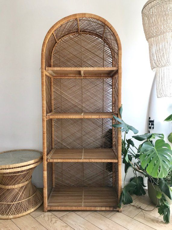 online store 1280d 5ebbc Rattan Wicker Shelving - 70's Boho Dome Top Standing Shelf ...