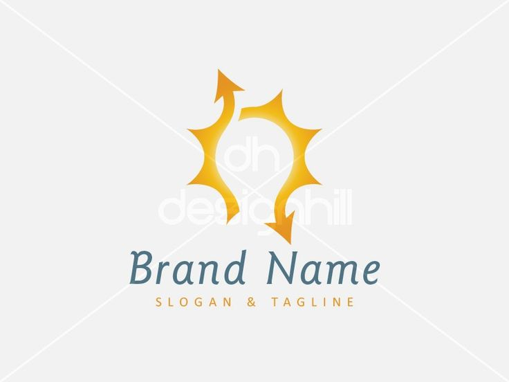 New logo design for sale on Design Hill -  orange, simple, energy, idea, solar, sun, negative space, yellow, arrow, cycle, light, power, smart, two, shine, bulb, trade, trading, collaboration, disc, electricity, cooperation, distribution, sync, radiant, synchronization, synergy, logo, design, template,
