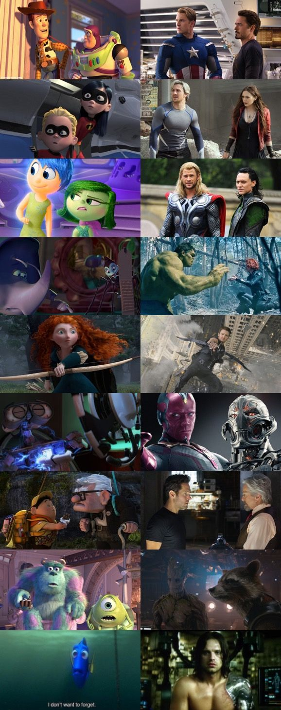 Pixar and Marvel Parallels. That last one gives me great agony. <<< that was uncalled for