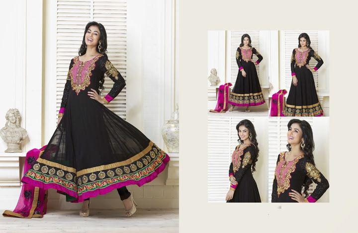 Vivacious Black & Pink Salwar Kameez   StylishKart.com