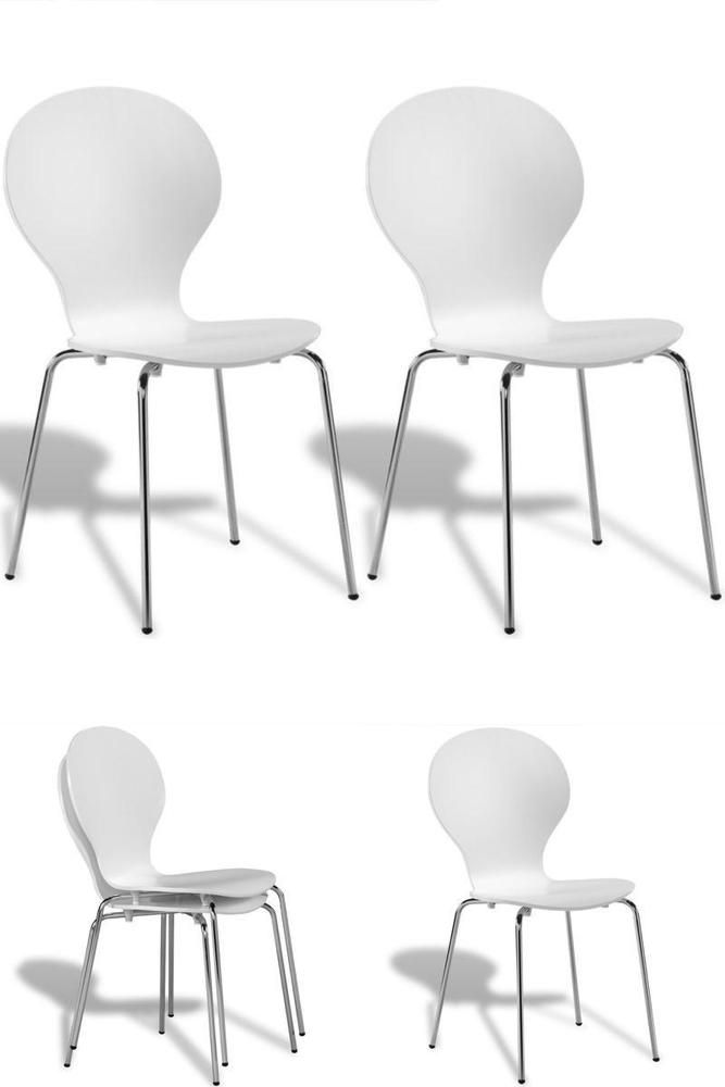 White Dining Chairs Set 2 Stackable Wood Metal Bar Restaurant Home School Seats