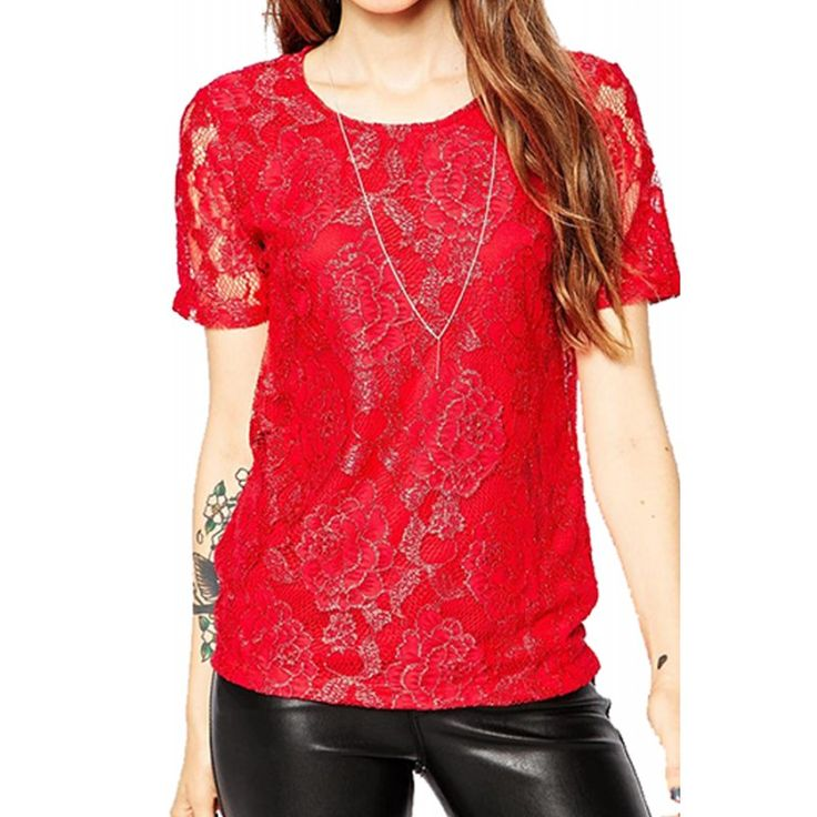Bluza Dama NOISY MAY Lace Jester Red