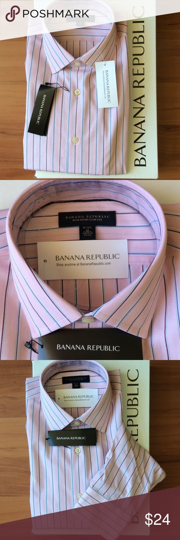 Banana Republic Men Shirt Non iron slim fit. Pink with blue, white, red and burgundy strips. Unused and unopened with original packaging and gift box. It was a gift but the size doesn't fit. Banana Republic Tops