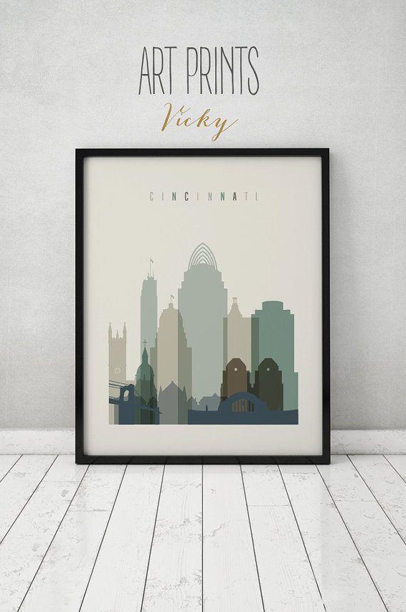 Cincinnati print Poster Wall art Cincinnati skyline Ohio