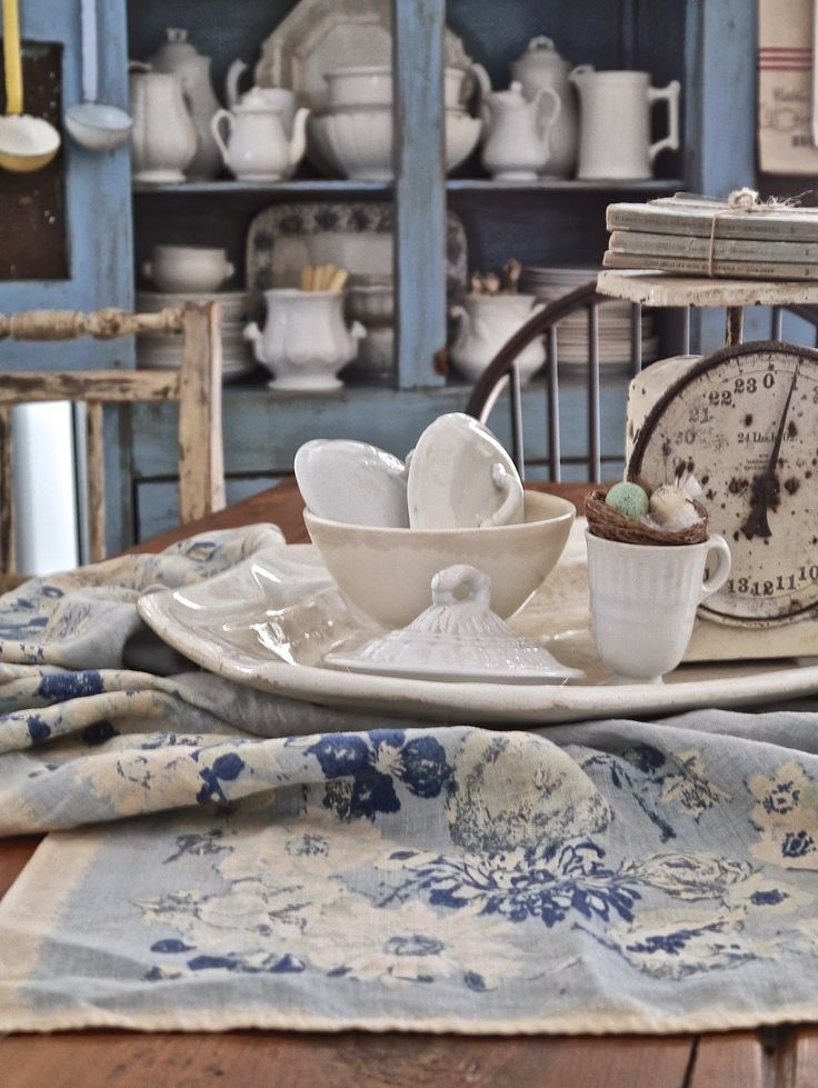 Chateau Chic: Vintage Blue Tablecloth with white ironstone and vintage white scale