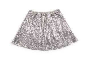 Falda para niña, en color gris y bordada en lentejuelas grises y plateadas.