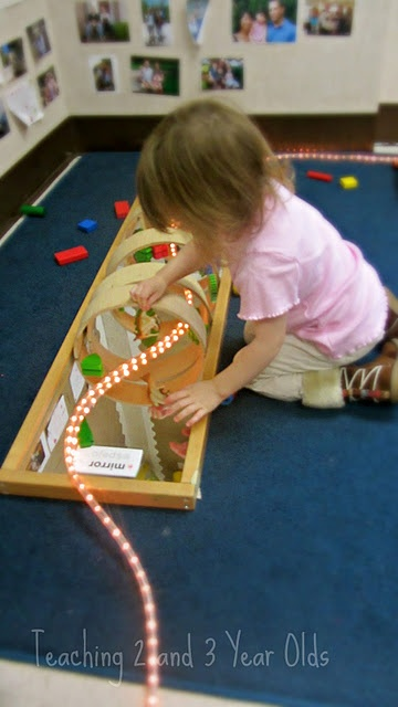 Idea For Block Area Using With A Mirror And Light Rope Preschool