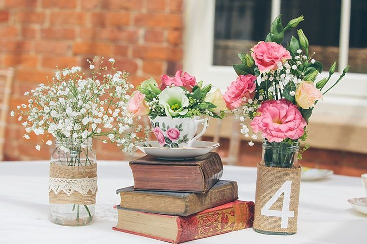 Hessian Jar Table Numbers Relaxed Happy Classic Pink Afternoon Tea Wedding http://www.firsthandphotography.co.uk/