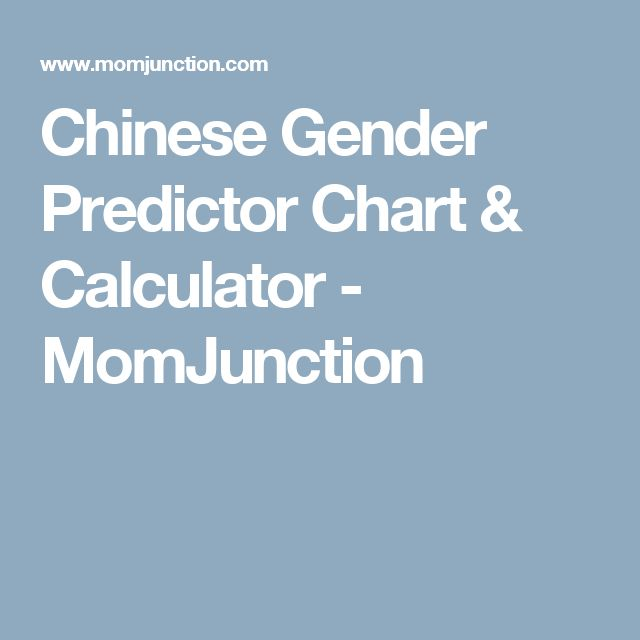 Chinese Gender Predictor Chart & Calculator - MomJunction