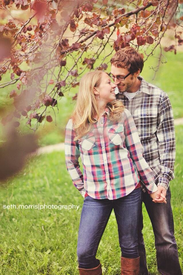 Fall engagement photo matching flannel shirts