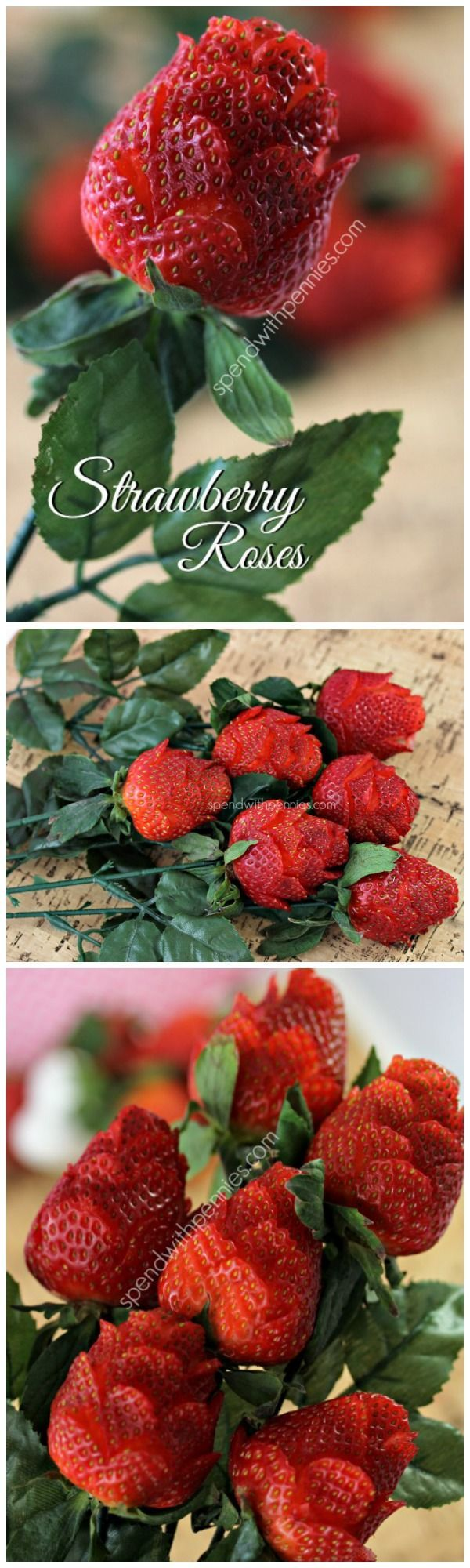 """(link) How To Make a STRAWBERRY ROSES BOUQUET ~ Gorgeous, inexpensive & unbelievably easy to make!  You will need about 2 minutes per """"rose""""… yes, they're that easy! For rose stems, (she) purchased roses at the dollar store. Recommend placing  """"stem"""" into the strawberry before you begin so you don't crush the """"petals"""" once it's done. HINT: Use wooden skewers soaked in water/ green food color, let dry then attach with hot glue a few silk """"rose leaves"""". ~ for more great PINs visit @djohnisee"""