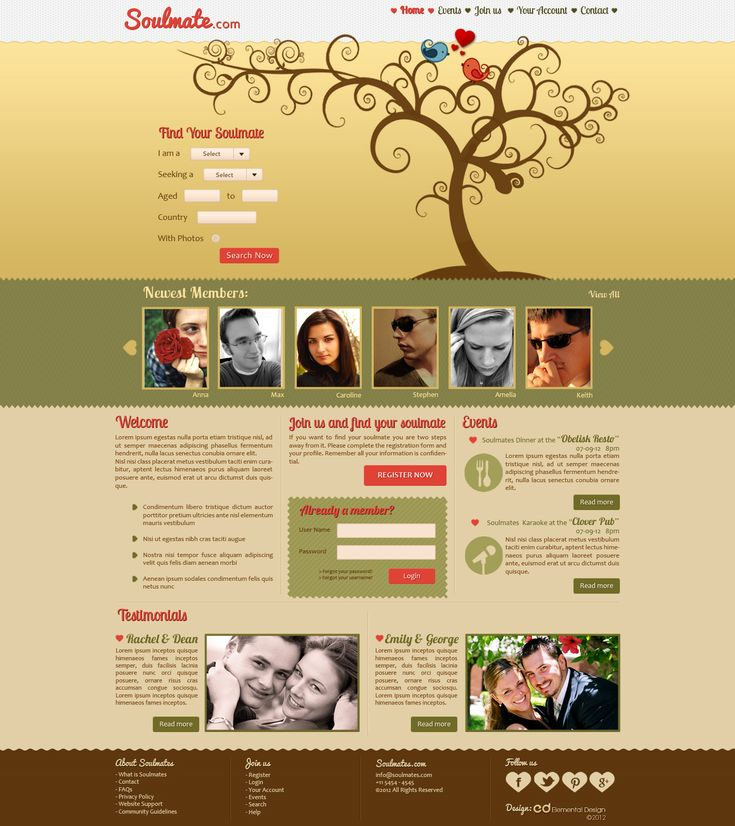 Dating site web template.