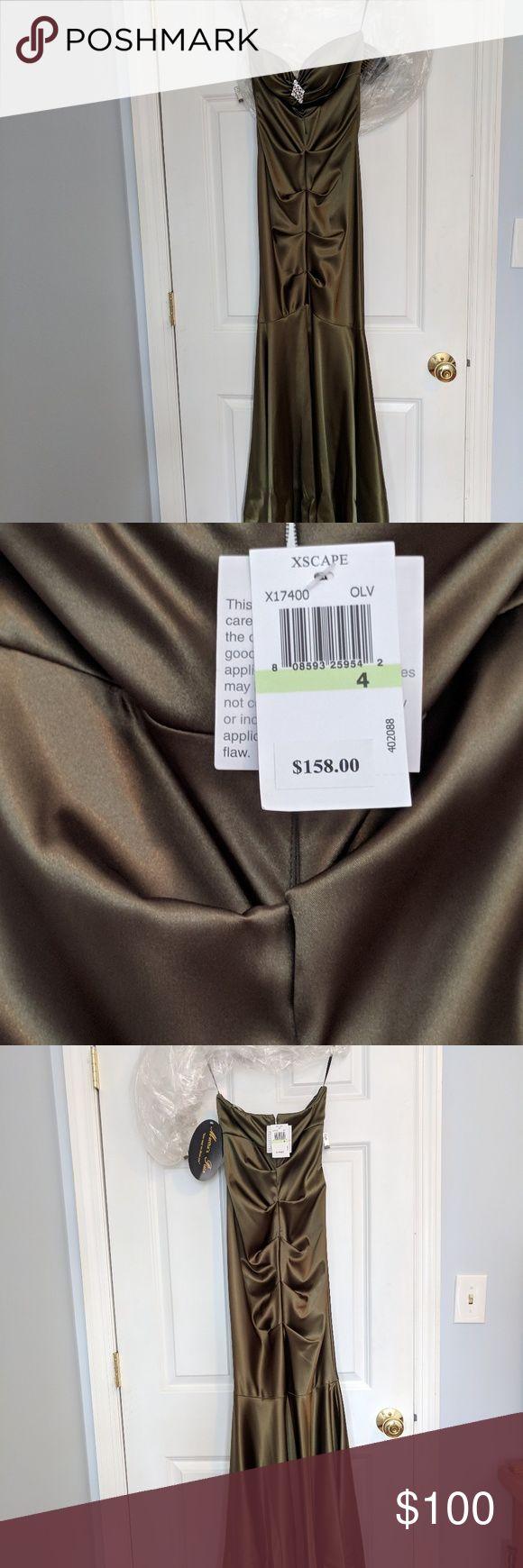Never worn xscape olive prom dress. Size 4, olive Xscape prom dress. Brand new bought for $158. Xscape Dresses Prom