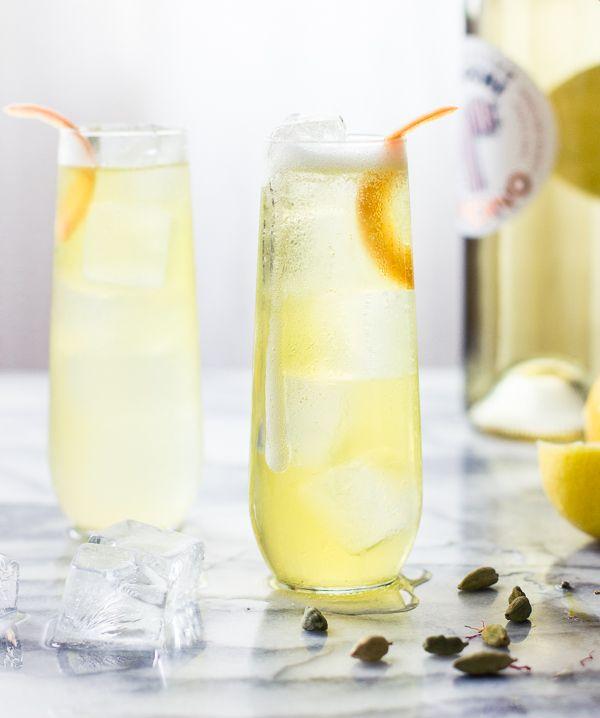 One for the Money Cocktail: cocchi americano, st. germain, prosecco, lemon, and cardamom-saffron tincture.