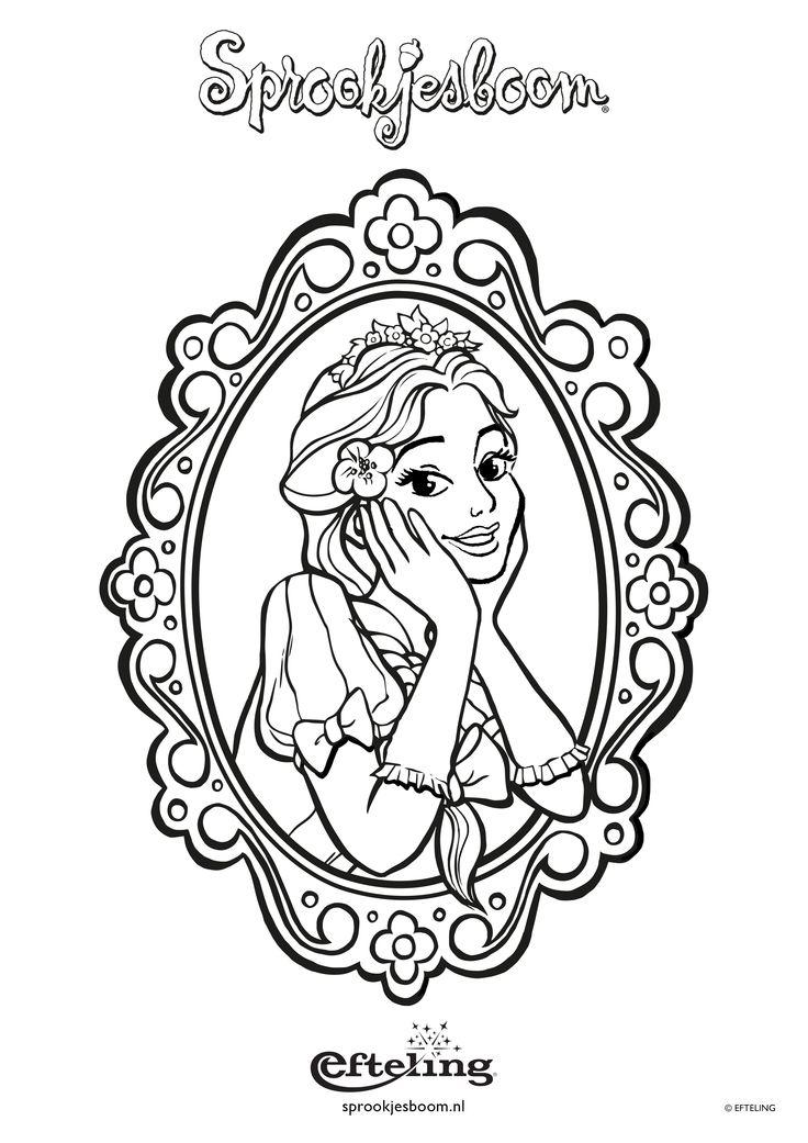 Sprookjesboom kleurplaat met Assepoester in een spiegel