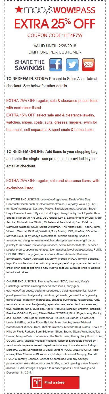 181 best free coupons images on pinterest books to read gym and extra 25 off at macys or online via promo code ht4f7w 02 fandeluxe Choice Image