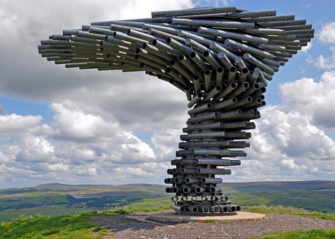 The Singing Ringing Tree, a wind powered musical sculpture outside Burnley in the UK by architects Mike Tonkin and Anna Liu
