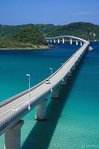 Want to drive this --> Tsunoshima Bridge, Japan