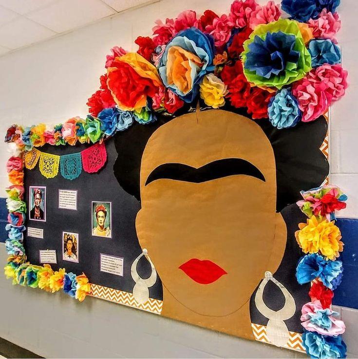Hispanic Heritage Bulletin Board of Frida Kahlo in 2020