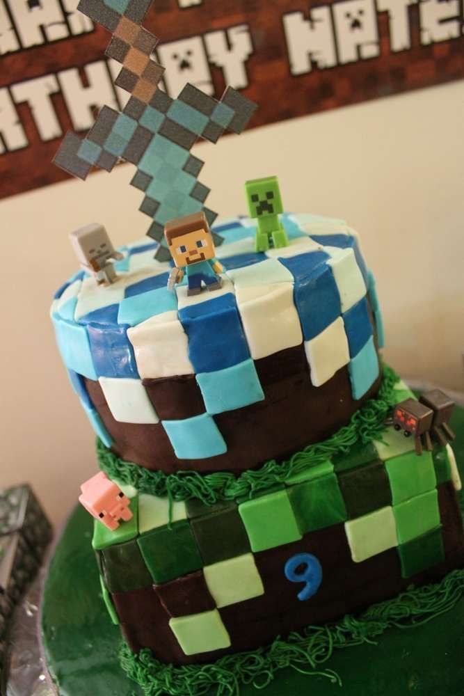 Awesome cake at a Minecraft birthday party! See more party ideas at CatchMyParty.com!