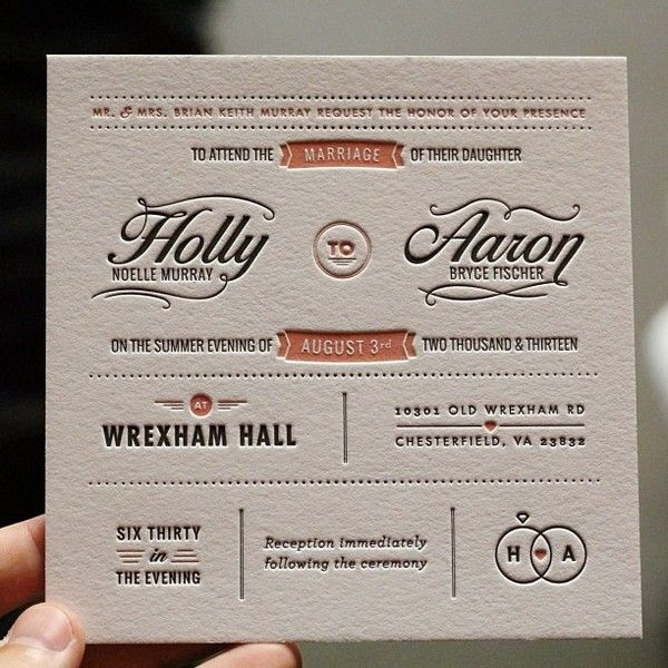 this is cool... not sure how practical... i like how the letters are pressed in. But I also like the initials in the rings... maybe we could do an airplane instead of rings??? Annnd I like the Names of this one...... Letterpress