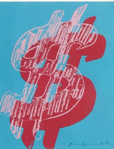 """Andy Warhol's numerous """"Dollar Sign"""" paintings bluntly reminded people that """"big time art is big time money"""", as well as the overall obsession with money. These paintings are symbolic of the greediness and materialism of the entire 1980's decade."""