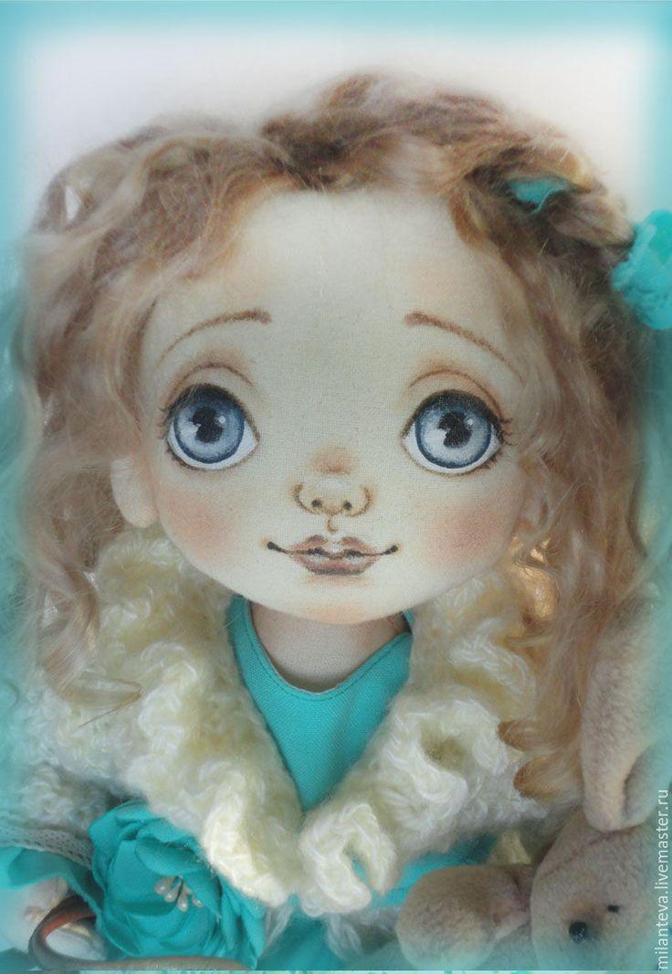 Купить Кукла Юленька.Текстильная малышка. - тёмно-бирюзовый, кукла ручной…