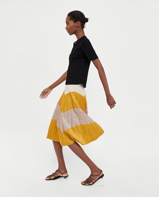 Image 3 of TRI-COLOURED PLEATED SKIRT from Zara