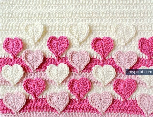 Manta para bebe tejida a crochet con puntos de corazon-15