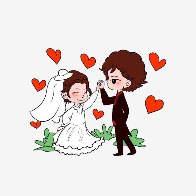 رسوم متحركة مرسومة باليد حفل زواج عروس و عريس Bride And Groom Silhouette Simple Bride Hand Painted Wedding