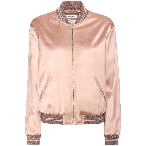 Saint Laurent Embellished Bomber Jacket (£1,550) ❤ liked on Polyvore featuring outerwear, jackets, tops, casacos, coats, pink, flight jacket, blouson jacket, bomber style jacket and embellished jacket