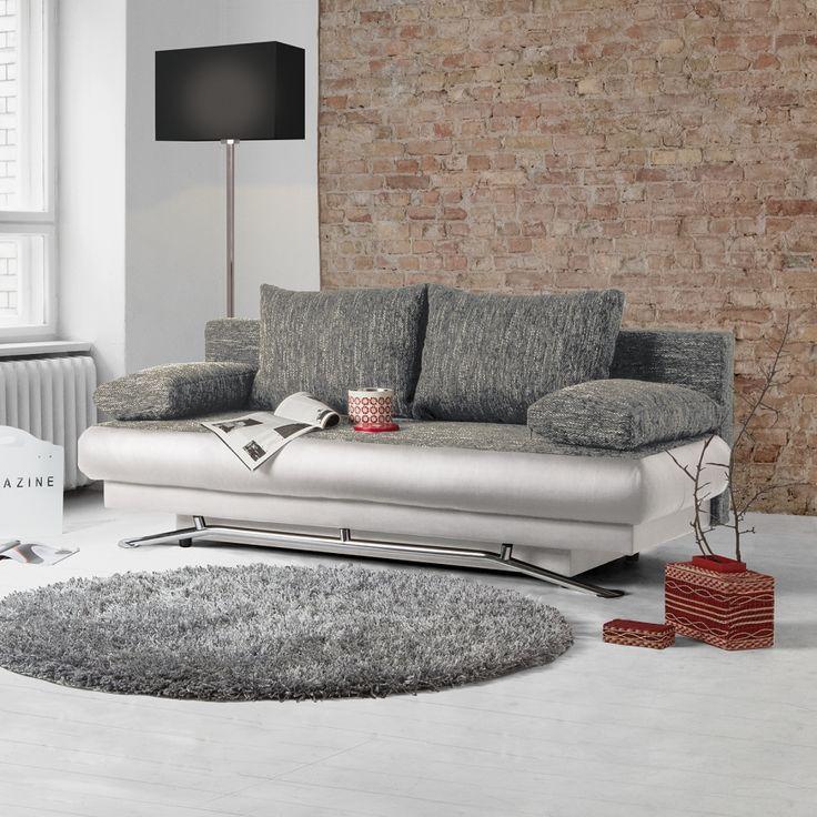 Slaapbank Homesta - kunstleer/structuurstof - Wit/grijs