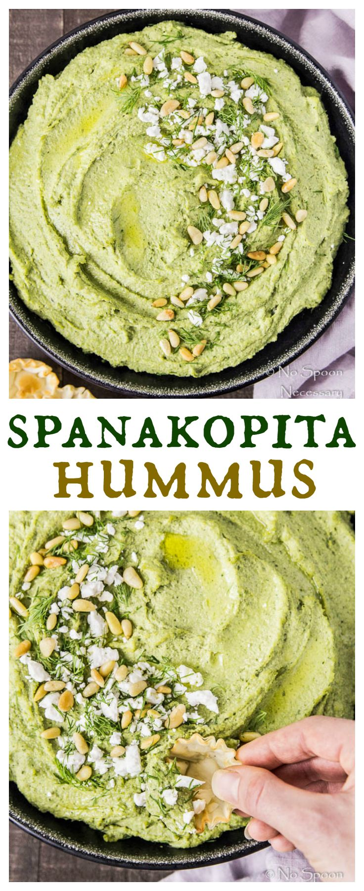 Spanakopita Hummus  --> All The Traditional Flavors of Greek Spinach & Feta Pie Turned Into A Healthy, Creamy-Dreamy Dip.