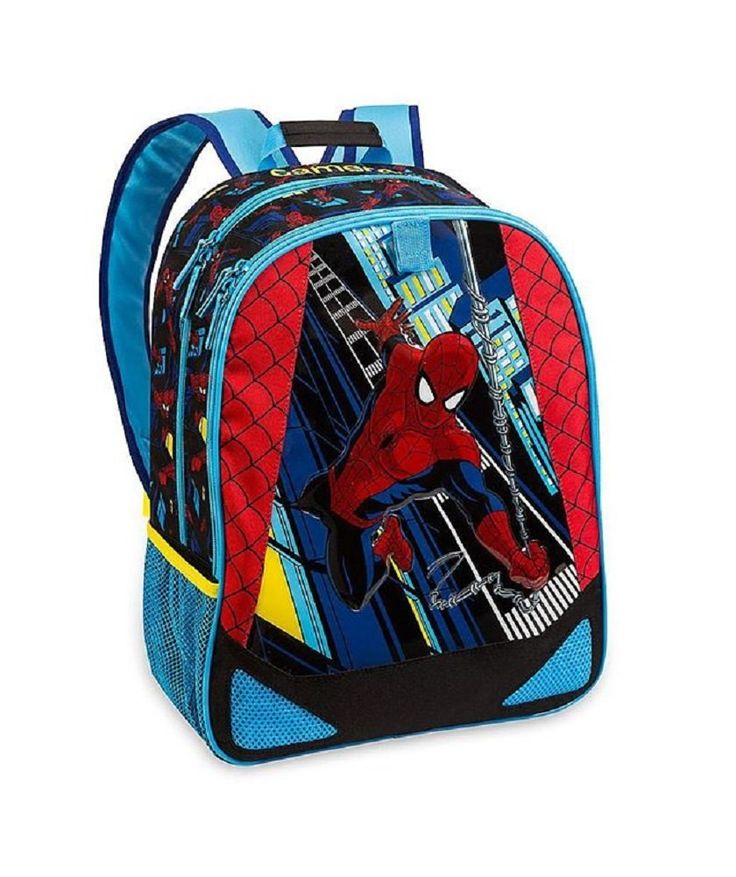 Disney Store The Ultimate Spider-Man Light-Up Backpack. NOT Personalizable. Spider-Man character backpack. PVC front panel with artwork of Spider-Man and his rope of webs. Lights flash on building lights when hidden button is pressed. Main zip compartment with interior name patch. Front zip-up pocket with interior mesh stationery pocket. Two mesh side pockets. Spider web smboirdered pattern on the back. Adjustable shoulder straps and carry handle. Fastening loop to attach the Spider-Man...